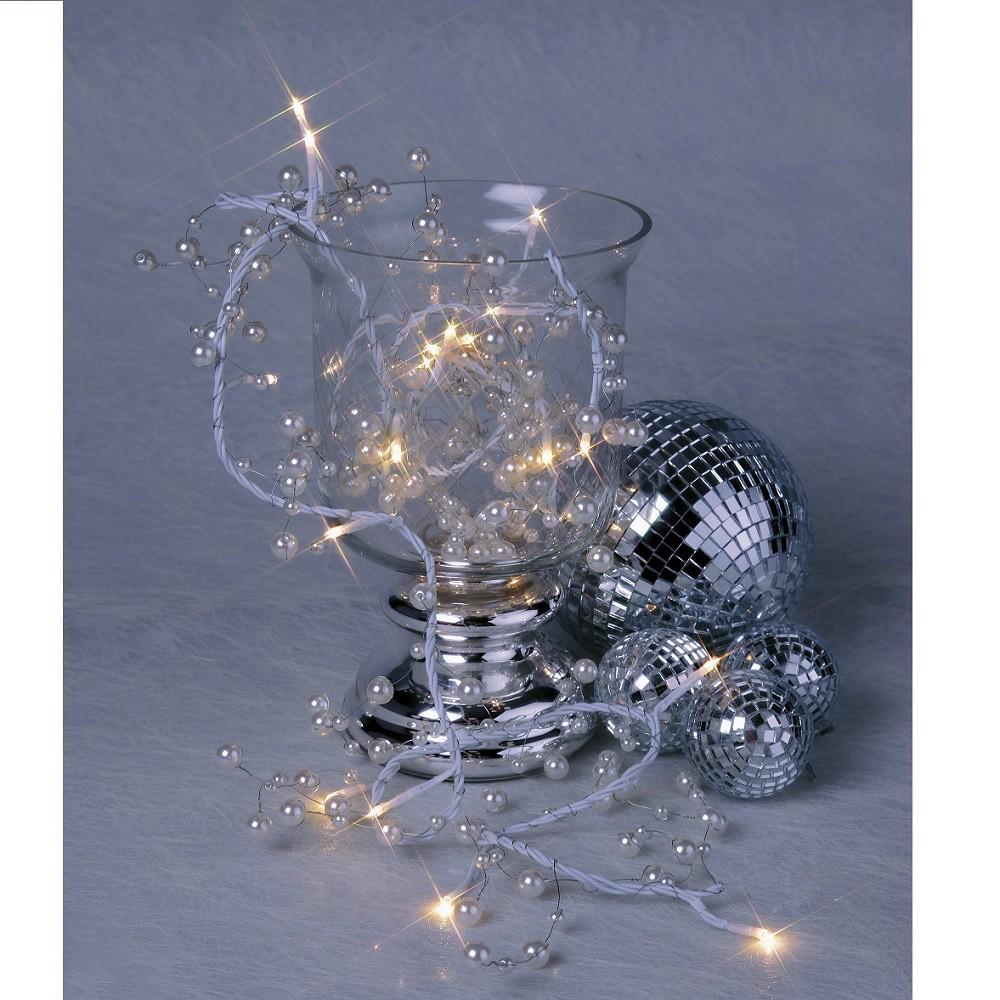 Led kugel lichterkette mit perlmuttfarbigen kugeln tischdeko lichter 20tlg deko sch nes f r - Weihnachtsdeko kugeln beleuchtet ...