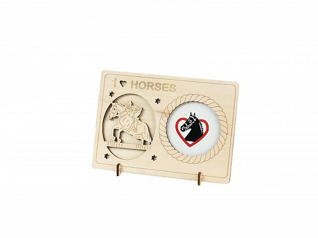 sch ner bilderrahmen mit pferdemotiv aus holz 14x10cm reiter geschenkartikel noch mehr ideen. Black Bedroom Furniture Sets. Home Design Ideas