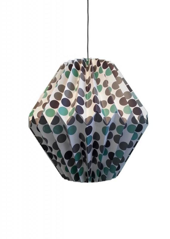 papierlampe gepunktet 32 x 19cm papierleuchte mit grau braun gr nen punkten deko sch nes f r. Black Bedroom Furniture Sets. Home Design Ideas